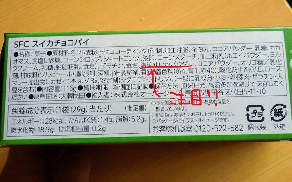 スイカチョコパイの原材料