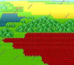 新しい村の山の向こうに毒の沼地が
