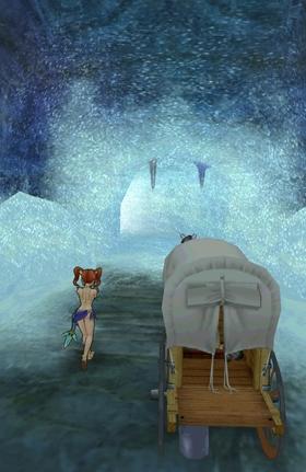洞窟内部が猛吹雪