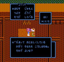 ヒミコに話かけるネコ勇者