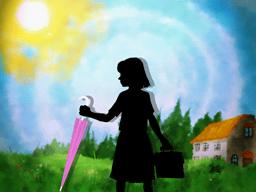 晴れた日に雨傘を持って学校へ向かう少女