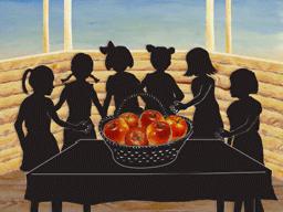 6人の少女と6つのリンゴ