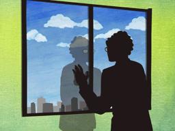 窓の向こうを見つめる男