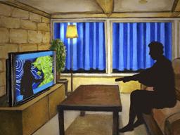 天気予報を視聴するジョン