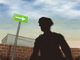 一方通行標識と警官