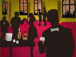 パーティーに出席する男