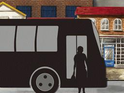 バス停で降りる女