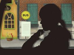 バス停で降り過ごす女