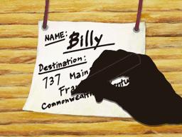 行き先を書いたカード