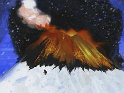 噴火真っただ中の雪山
