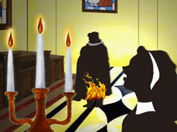 燃える神父に気付いたシスター