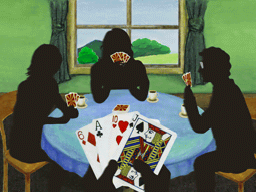 カードゲームに興ずる4人