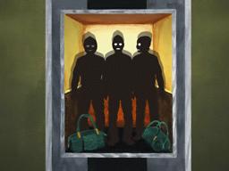 エレベーターに閉じ込められた強盗団