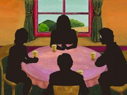 テーブルを囲む4人