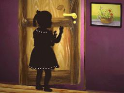 扉を開ける少女