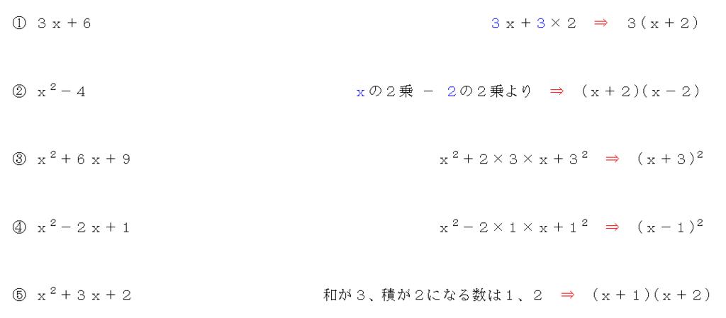 因数分解の公式のまとめ