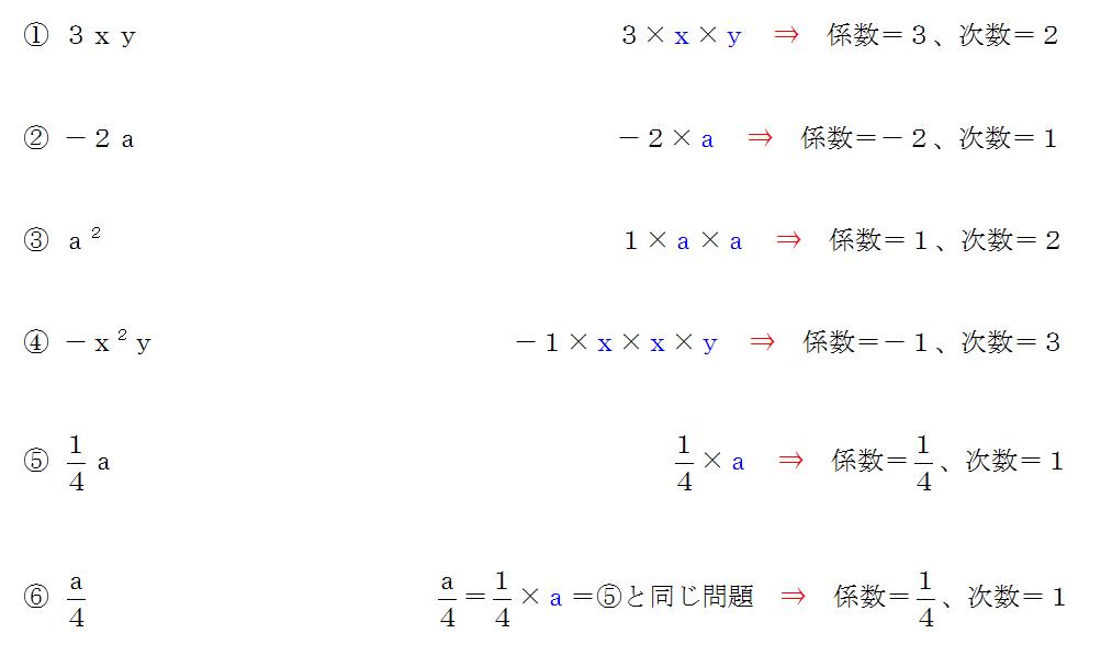 次数 と 係数 と は
