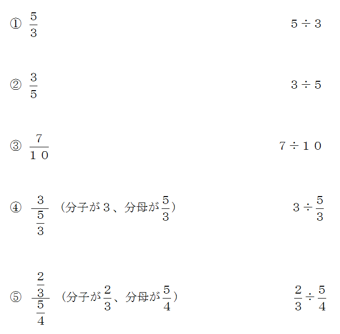 分数から割り算にする方法