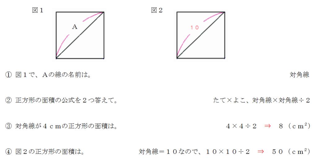 正方形の対角線と面積の求め方