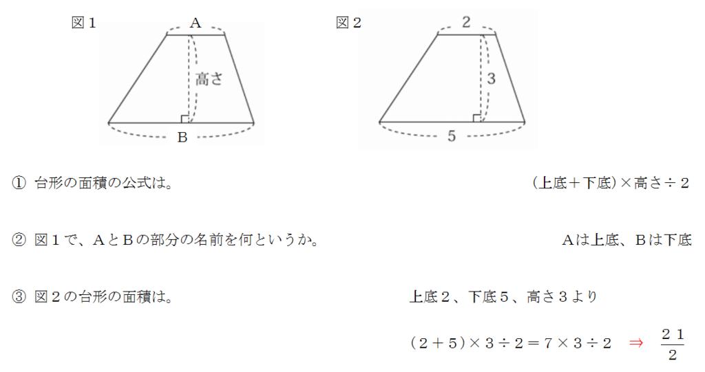 台形の面積の公式