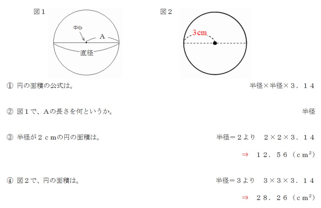 円の面積の公式、小学生
