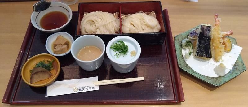 乾麺・生麺味比べ(冷)+天ぷらセット