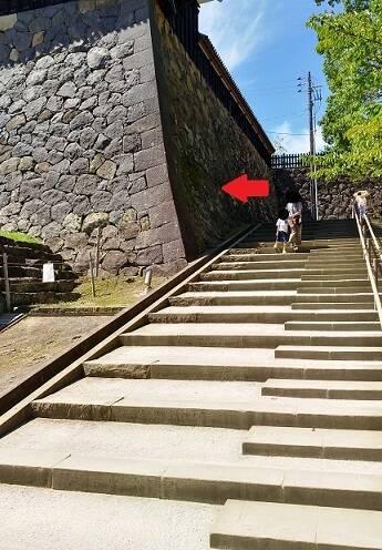 松江城ハートの場所(石垣)