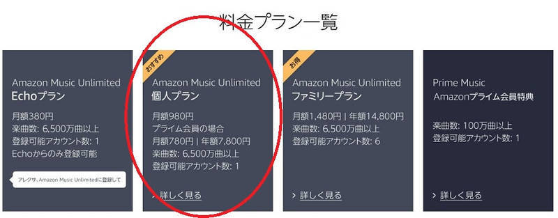 Amaon Music Unlimitedの契約コース一覧