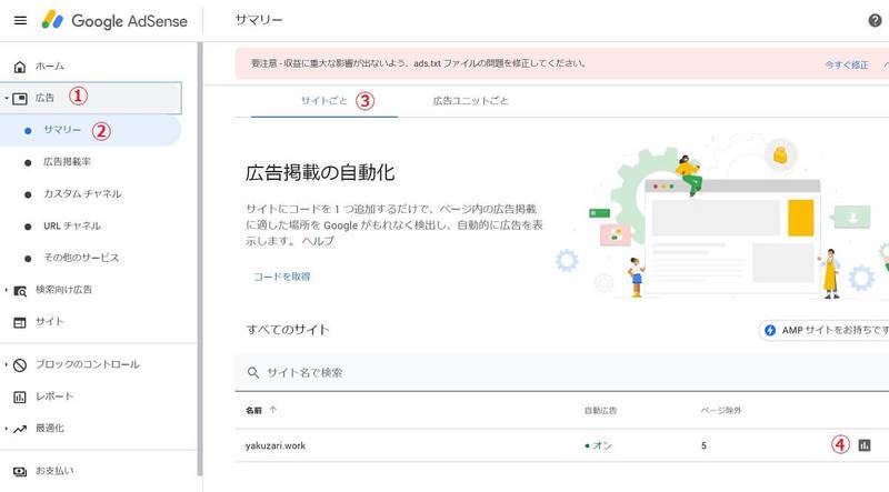 Google AdSense(アドセンス)の管理画面