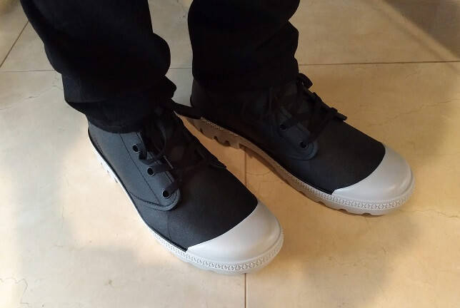 ワークマンプラスの靴を履いているところ