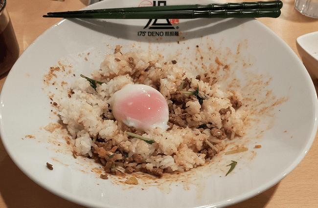 175°DENO担担麺仙台店で〆のご飯