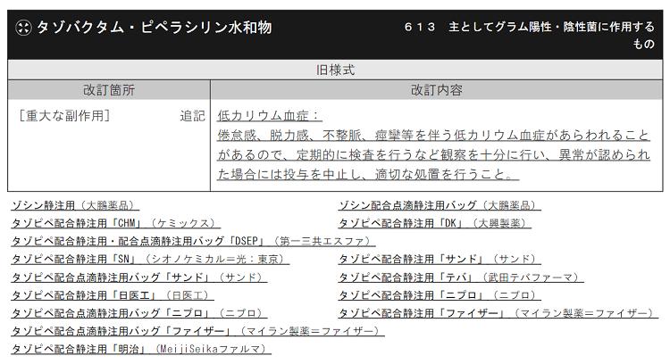 DSU タゾバクタム/ピペラシリンの使用上の注意改訂について