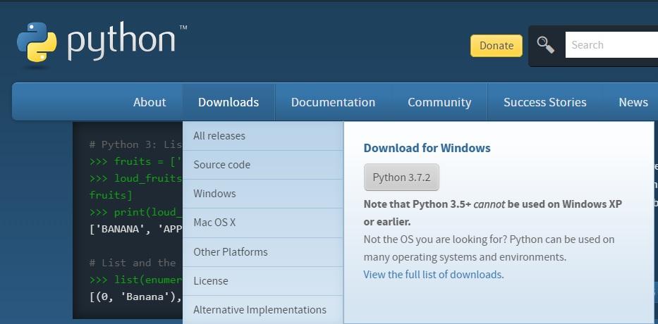 pythonダウンロード画面