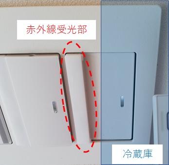 赤外線受光部と冷蔵庫の位置