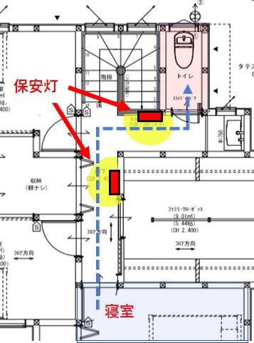 深夜のトイレ導線と保安灯の位置
