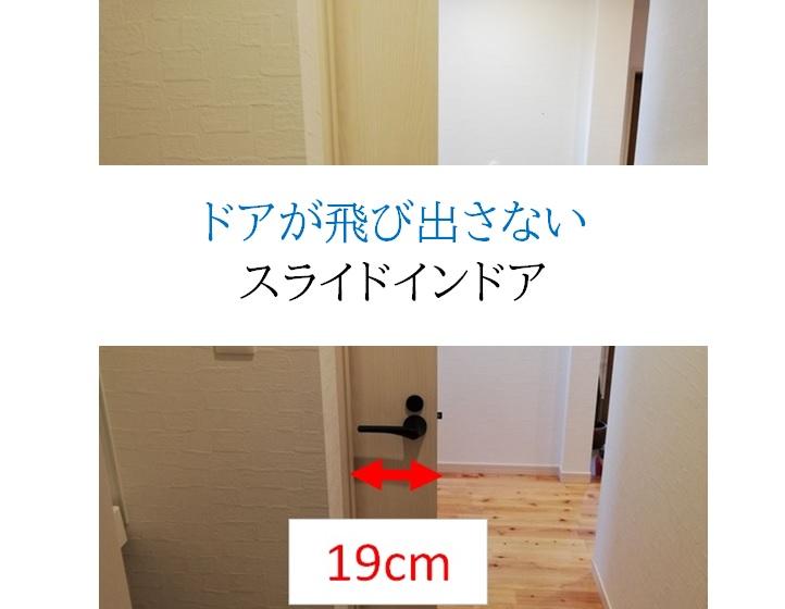 ドアが飛び出さないスライドインドア