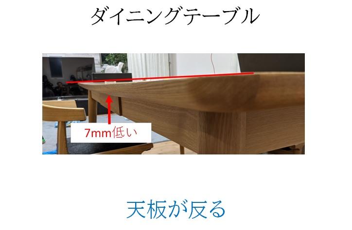 ダイニングテーブルの天板が反る