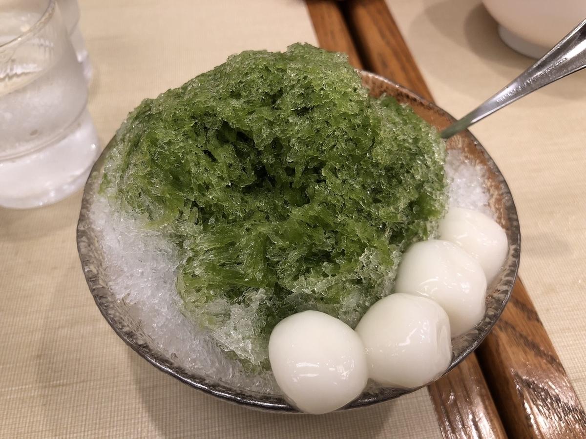東京駅 あんみつ みはし かき氷 宇治抹茶白玉あずき