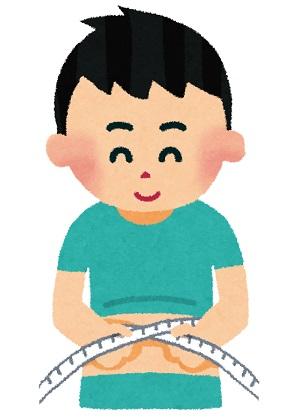 腹囲をメジャーで計る男性のイラスト