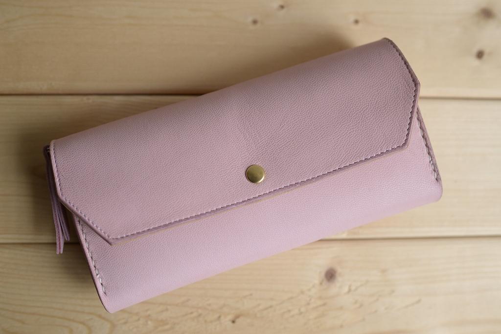 ピンクの牛革の長財布 ハンドメイド