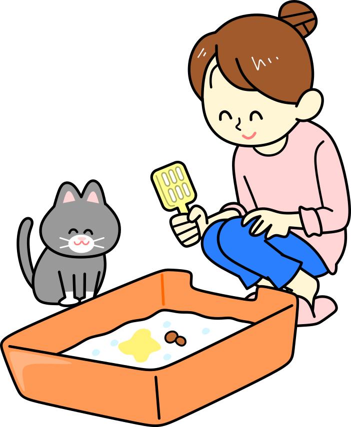 ネコと飼い主が一緒にトイレをみているイラスト