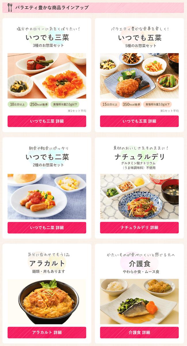 ワタミの宅配冷凍惣菜ラインナップ