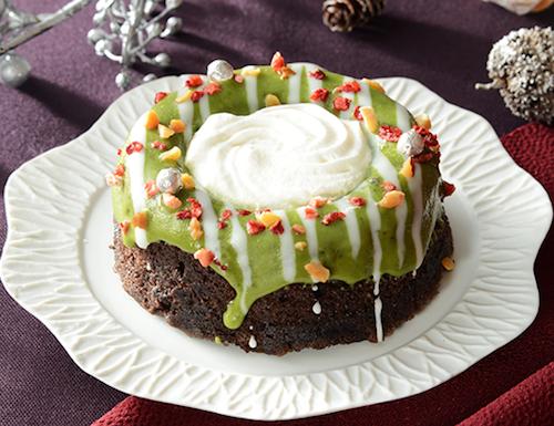 ローソンの緑のクリスマスリースのケーキ