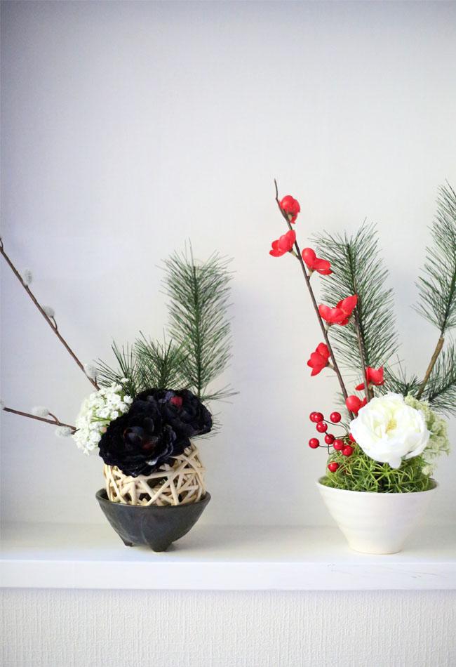 セリアの材料で作るお正月飾り、白と黒