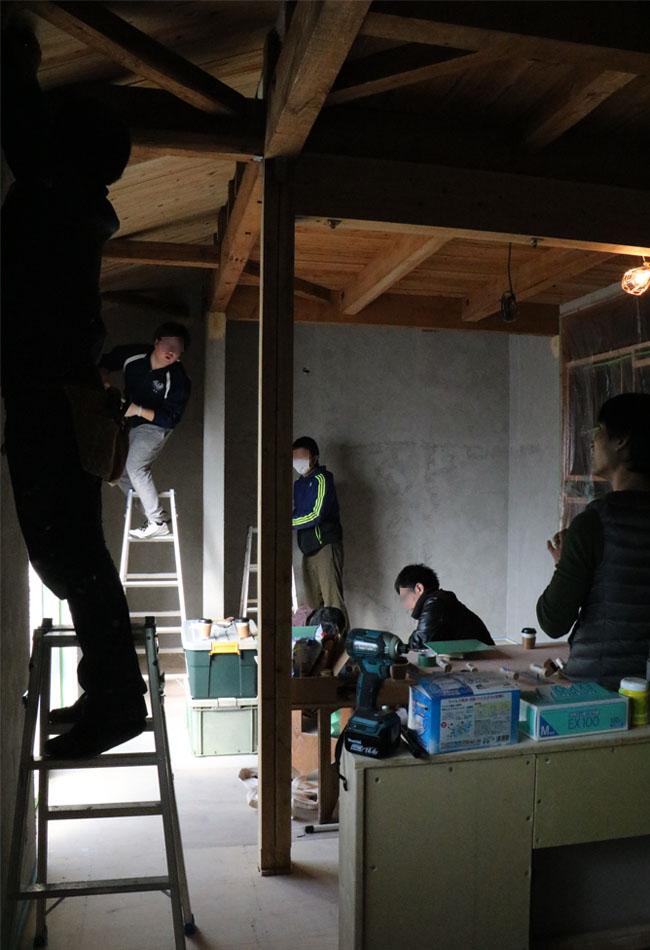 古民家再生、漆喰を塗る前