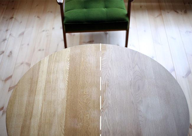 無垢テーブルを蜜蝋ワックスで塗装・塗装前の比較