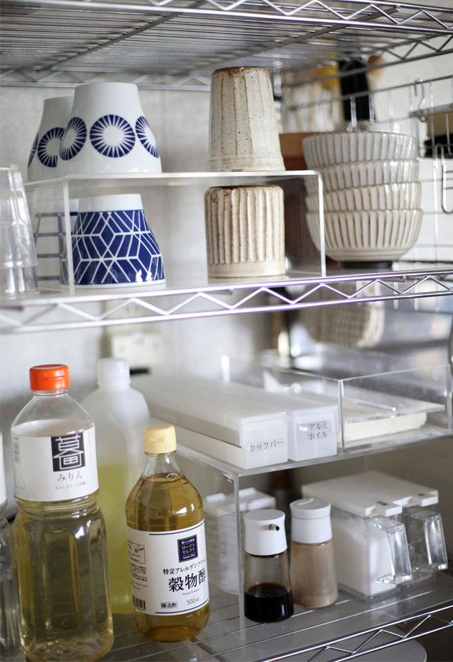 我が家のキッチンの無印良品仕切り棚の使い方