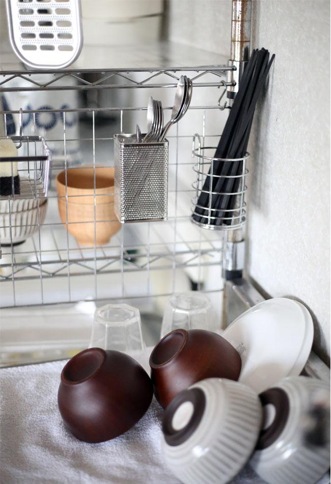 キッチンの水切りかご不用