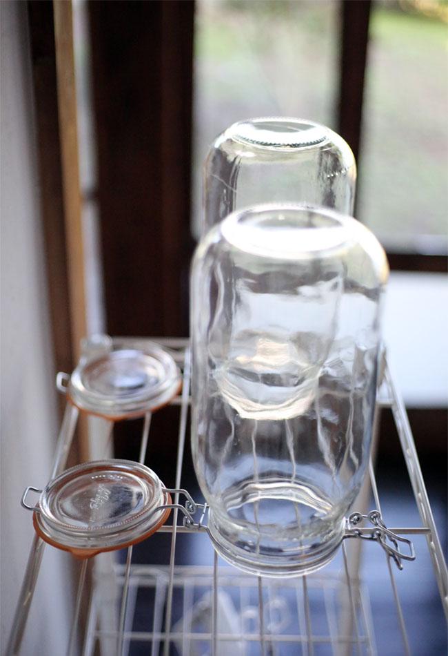 梅シロップ作り 瓶の消毒