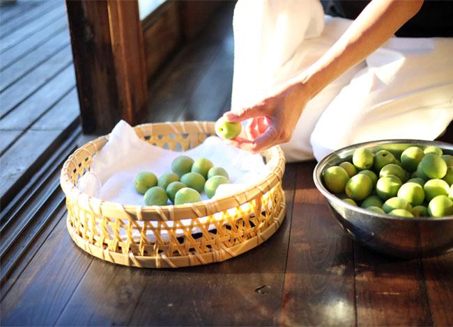 梅シロップ作り 梅をタオルで拭く